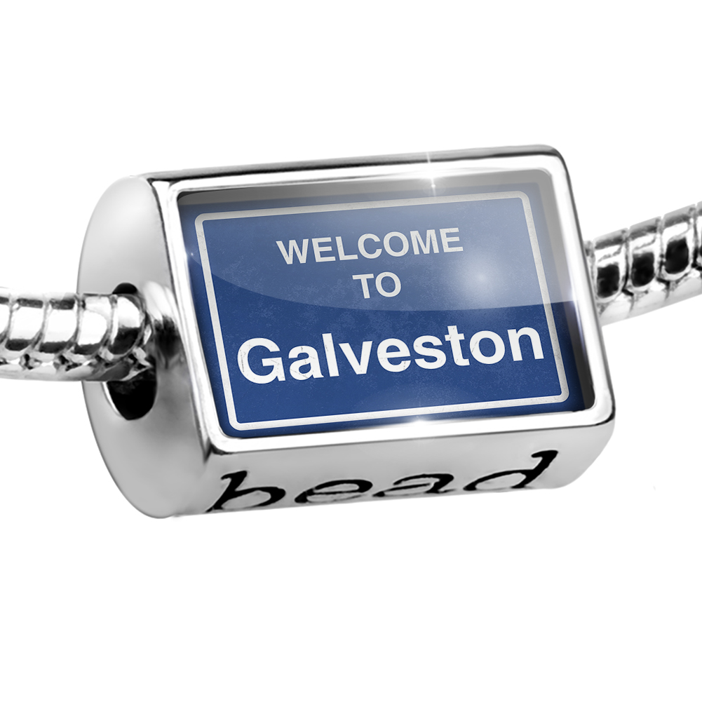 Bead Sign Welcome To Galveston Charm Fits All European Bracelets by NEONBLOND