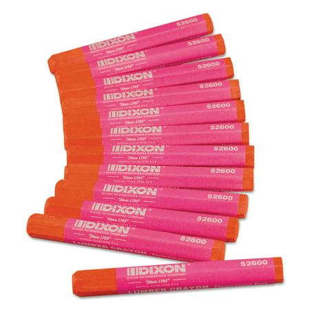 Lumber Crayons, 4 1/2 x 1/2, Fluorescent Pink, Dozen