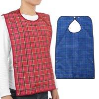 LHCER Adult Waterproof Mealtime Bib Double Layer Elder Dinning Clothes Protector Blue, Elder Bib, Waterproof Bib
