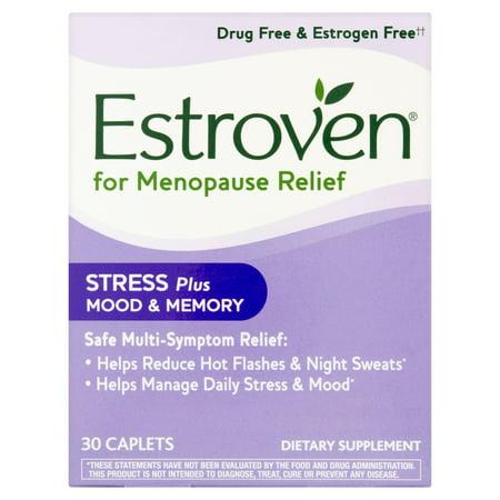 Estroven Stress plus d'humeur et la mémoire Symptôme Multi-ménopause secours alimentaires Supplément Caplets, 30 count