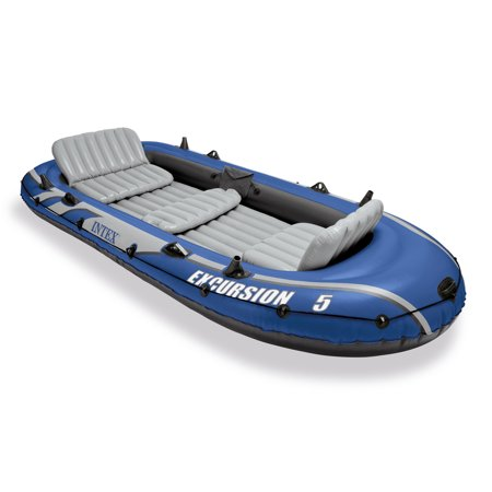 Intex Excursion 5 Person Inflatable Fishing Boat Set with 2 Oars, Air Pump &