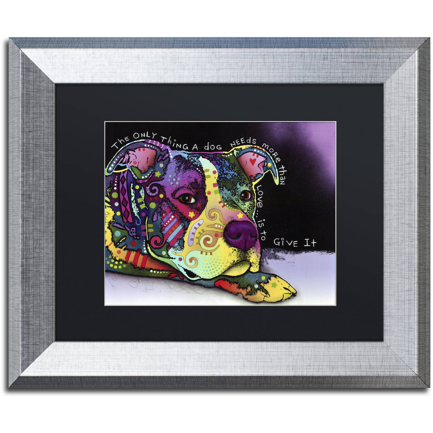 "Trademark Fine Art ""Affection"" Canvas Art by Dean Russo, Black Matte, Silver Frame"