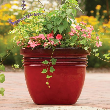 """Image of """"Better Homes & Gardens Bombay Decorative Outdoor Planter, Red Sedona - 16"""""""""""""""