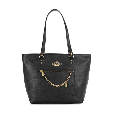 Coach Town Car Crossgrain Leather Tote   Light Gold Black