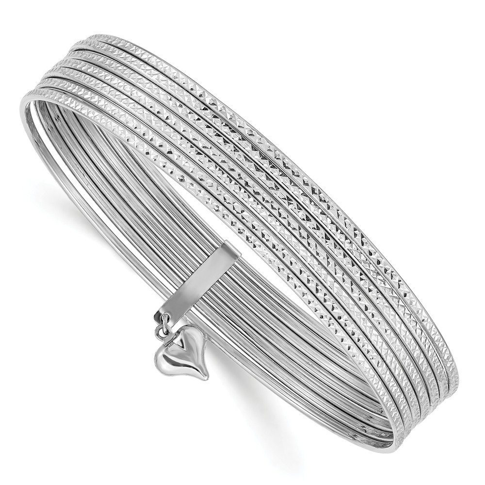 14k White Gold 7.5in D/C Slip On 7 Bangles