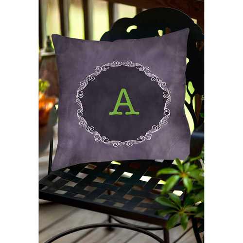 Thumbprintz Chalkboard Scroll Monogram Purple Decorative Pillows