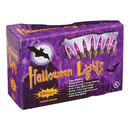 This Is Halloween Christmas Lights (100 Purple Orange Mini Bulb Christmas Halloween String Lights 24Ft Black)