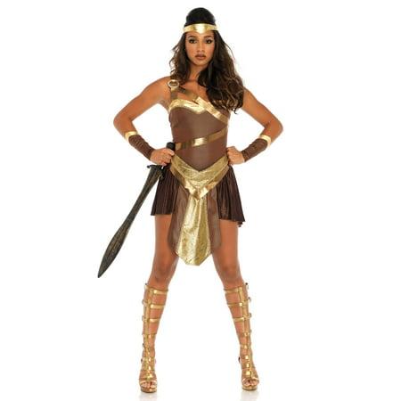 Gladiator Costume Female (Leg Avenue Womens 4 PC Golden Gladiator Warrior)