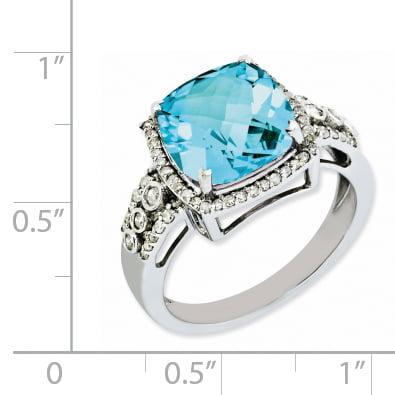 925 Sterling Silver Rhodium Diamond and Checker-Cut Light Swiss Blue Topaz Ring - image 1 of 2