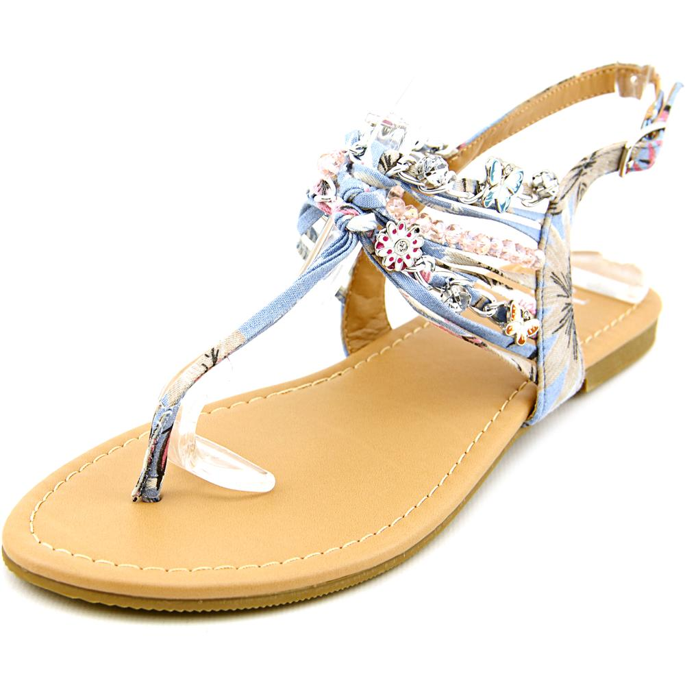 Famous Name Brand Sandy Women  Open-Toe Canvas Blue Slingback Sandal
