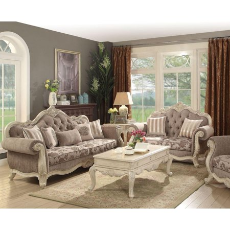 Antique White & Gray Living Room Set 2Pc Classic Acme Furniture 56020  Ragenardus