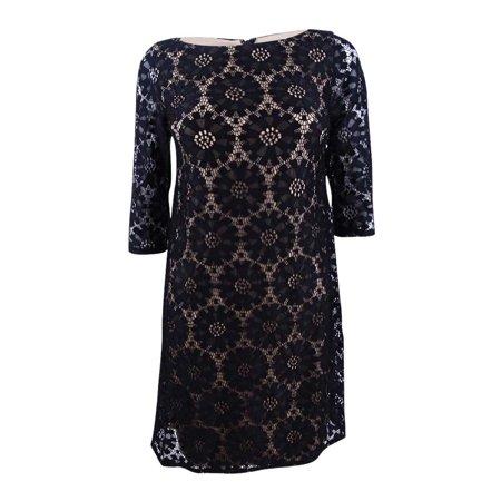 Jessica Howard Women's Petite Illusion-Sleeve Lace Sheath Dress