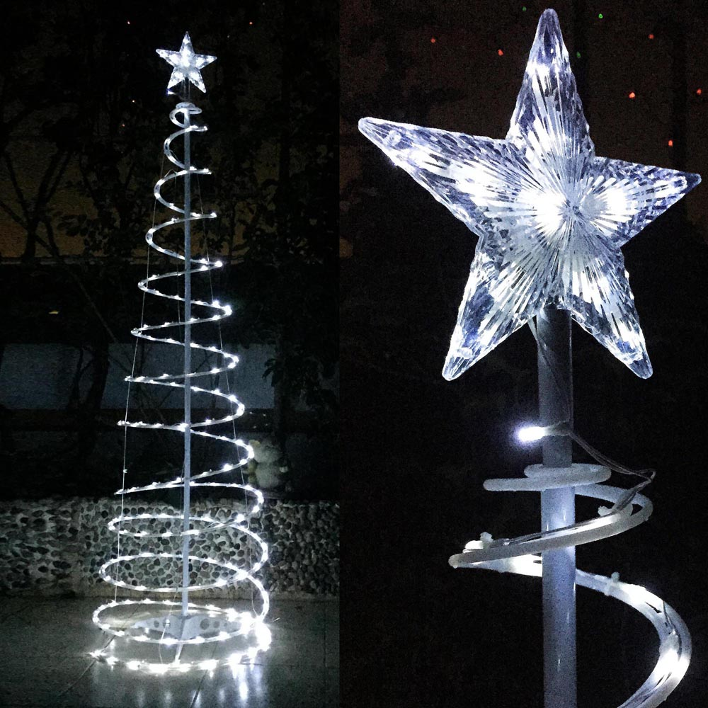 Yescom LED Spiral Christmas Tree Light Indoor Outdoor Yard Xmas Holiday Art Decoration Lamp 5ft/6ft Opt