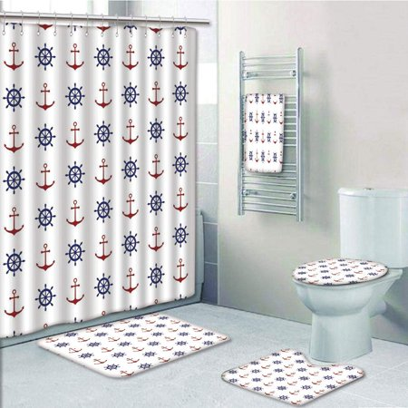 EREHome Anchor Maritime Decor Anchors Ship Wheels on the Navy Ruby 5 Piece Bathroom Set Shower Curtain Bath Towel Bath Rug Contour Mat and Toilet Lid Cover - image 1 de 2
