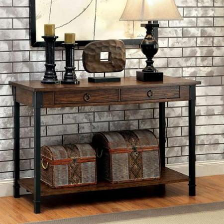 Furniture of america carpenter rustic weathered oak 2 for Furniture of america sofa table
