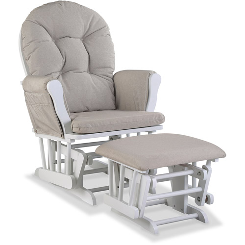 Storkcraft Swirl Hoop Glider and Ottoman White w Taupe Cushions