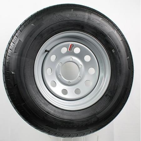 Radial Trailer Tire On Silver Rim ST235/80R16 LRE 6 Lug On 5.5 Modular
