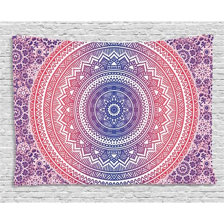 Pink and Purple Tapestry, Ombre Mandala Design Ethnic Eastern Pattern Chakra Meditation Hippie Art, Wall Hanging for Bedroom Living Room Dorm Decor, 60W X 40L Inches, Purple Pink, by Ambesonne - Pink And Purple Room Ideas