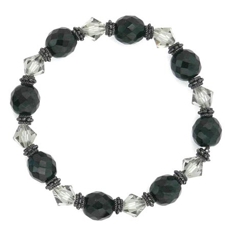 1928 Jewelry Jet Tone Black Diamond Crystal Beaded Stretch Bracelet - 1928 Jet