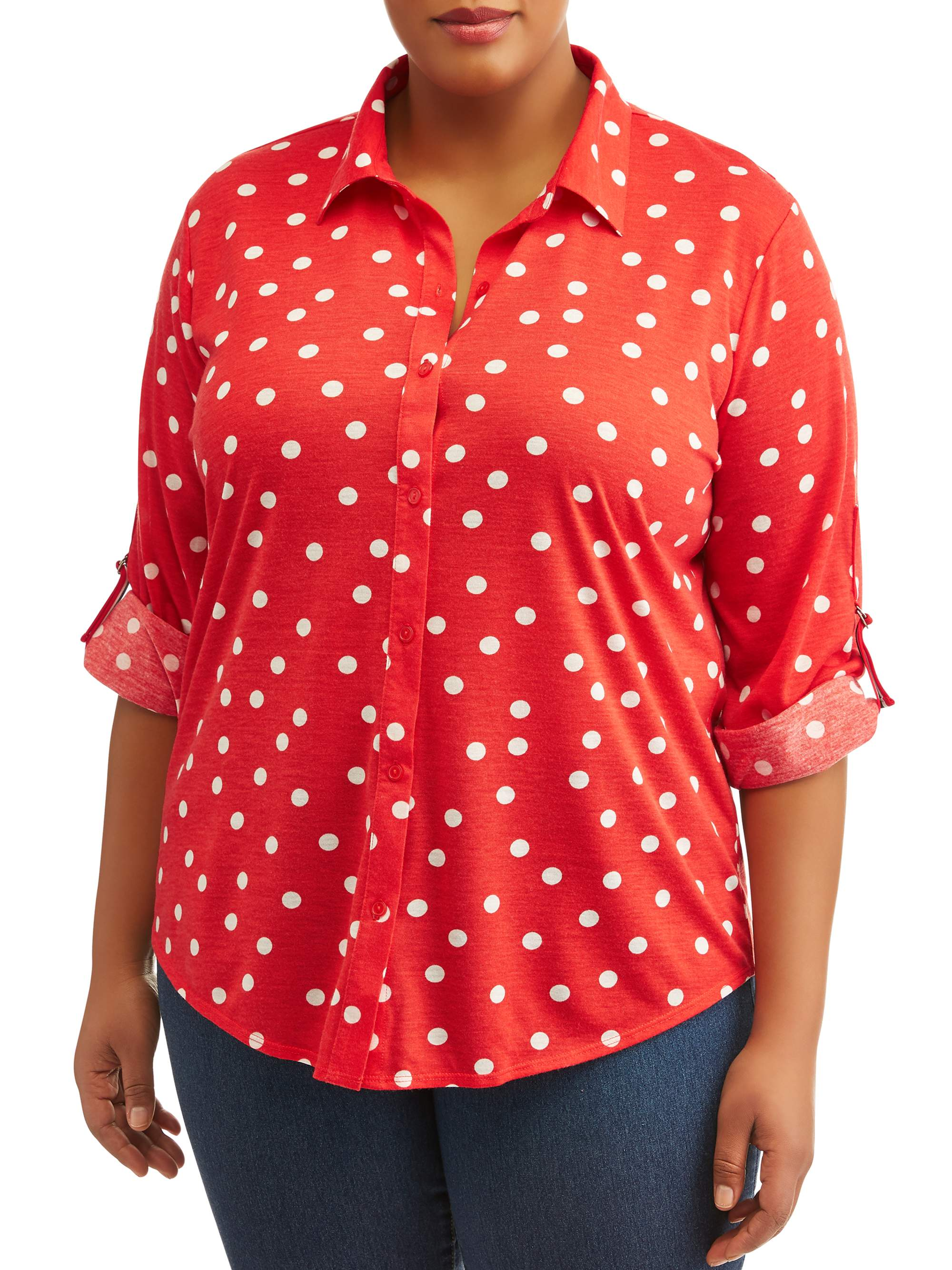 Women's Plus Size Elbow Sleeve Roll tab Button Down Shirt