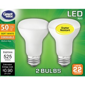 Great Value LED Light Bulb, 7 Watts (50W Equivalent) R20 Floodlight Lamp E26 Medium Base, Dimmable, Soft White, 2-Pack