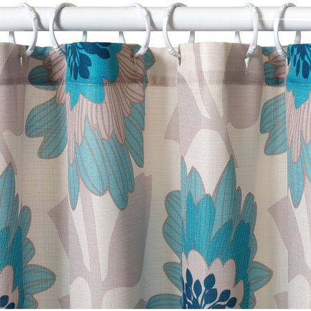 Zenna Home India Ink Number 9 Floral Shower Curtain, Aqua