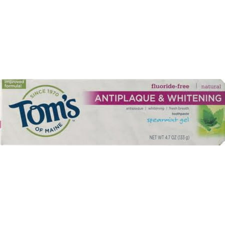Tom's of Maine Antiplaque Plus Whitening Gel, Spearmint 4.7 oz (Pack of 6)