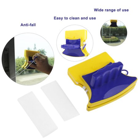 Fancyy Magnetic Window Double Side Glass Wiper Cleaner Cleaning Brush Pad Scraper Yellow & blue - image 9 de 13