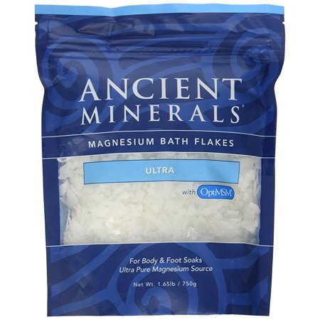 ancient minerals magnesium bath flakes ultra with optimsm - single use -  1 65 lbs
