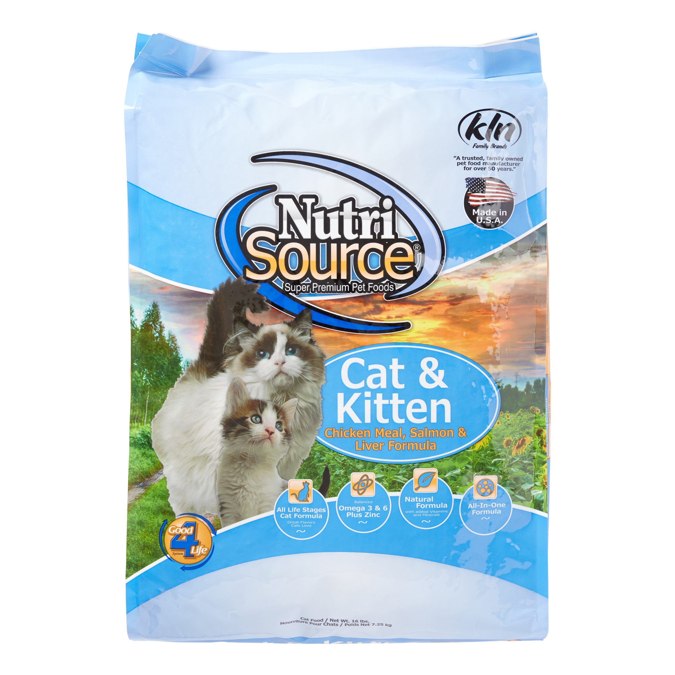 NutriSource Cat & Kitten Chicken Meal, Salmon & Liver Dry Cat Food, 16 lb