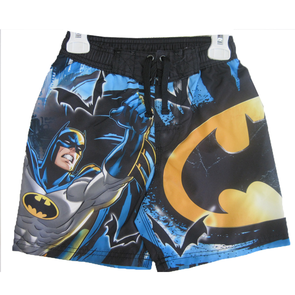 Little Boys Black White Cartoon Character Print Swim Wear Shorts 6