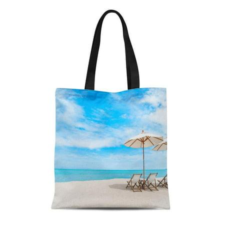 ASHLEIGH Canvas Tote Bag Thai Beach Chair Umbrella Blue Sky on Tropical Coast Durable Reusable Shopping Shoulder Grocery Bag ()