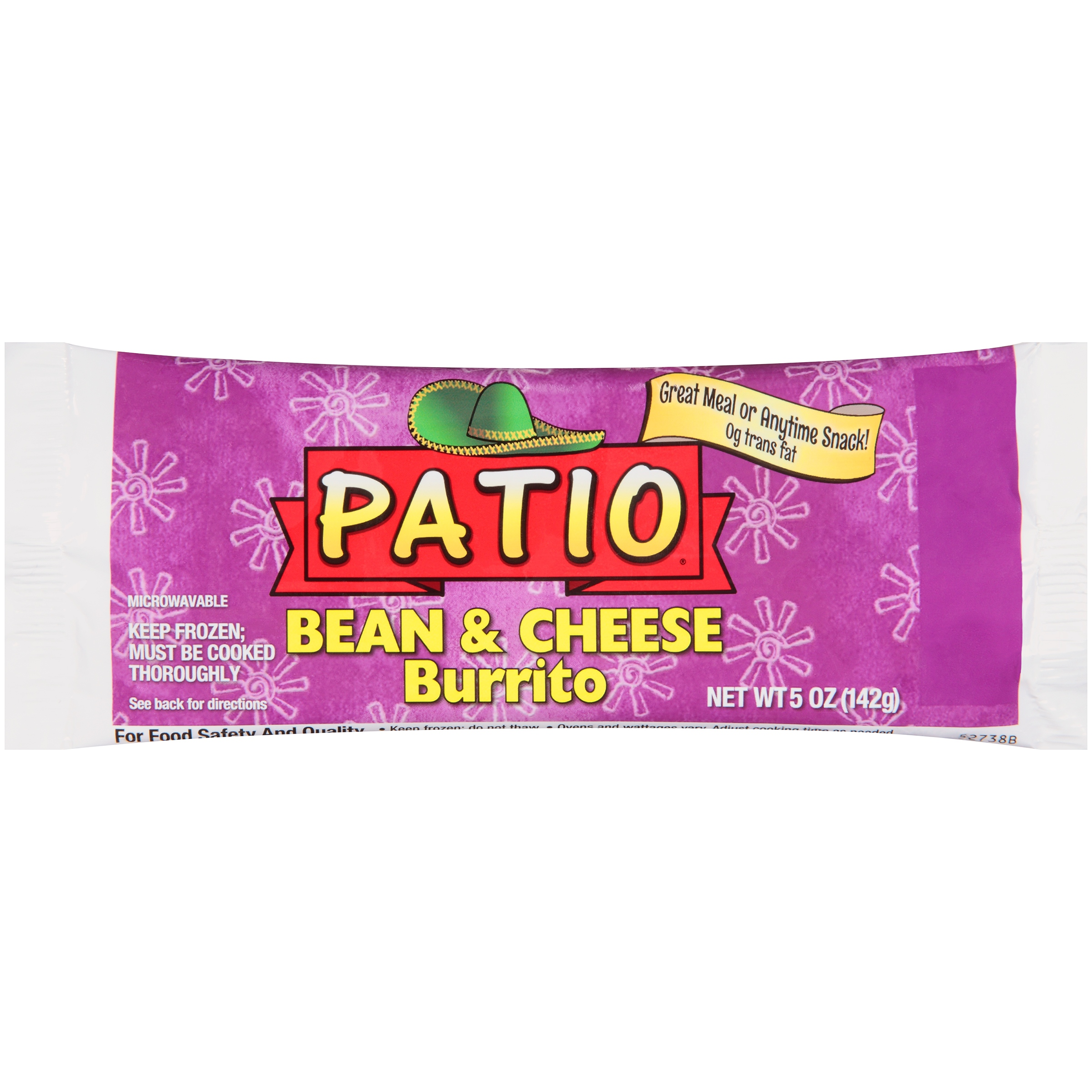 Amazing Patio® Bean U0026 Cheese Burrito 5 Oz. Wrapper   Walmart.com