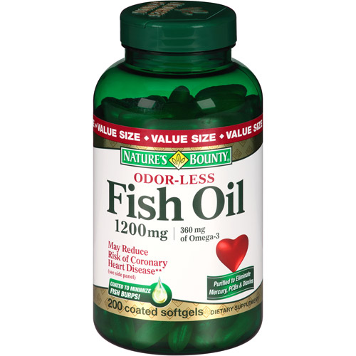 Nature's Bounty Fish Oil Softgels, 1200mg, 200 count