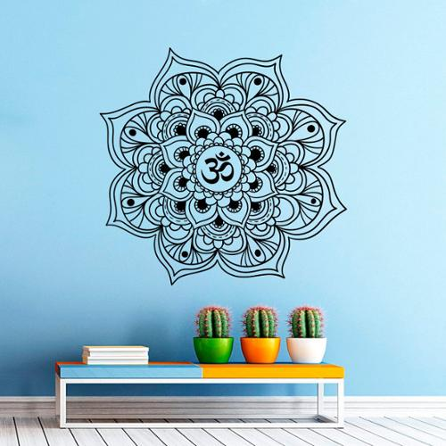 Stickalz llc Mandala Yoga Flower Indian Pattern Wall Art Sticker Decal