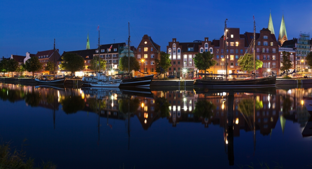 Holstenhafen on the River Untertrave Lubeck Schleswig-Holstein Germany Canvas Art Panoramic IMages (27 x 9) by Supplier Generic