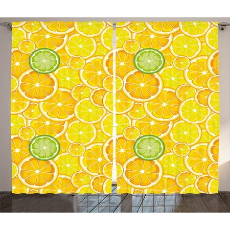 Yellow Decor Curtains 2 Panels Set Lemon Orange Lime Citrus Round