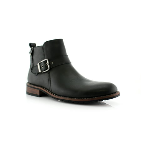 Ferro Aldo Dalton MFA606322 Black Color Men's Ankle Boots With Zip Up Boot Design and Classic Buckle Detailing Dress Boots For Work or Casual