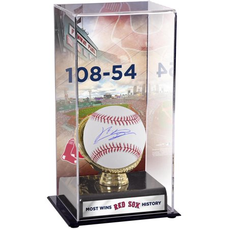 Boston Red Sox Glove (Rafael Devers Boston Red Sox Autographed Baseball and Most Wins in Franchise History Gold Glove Display Case with Image - Fanatics Authentic)