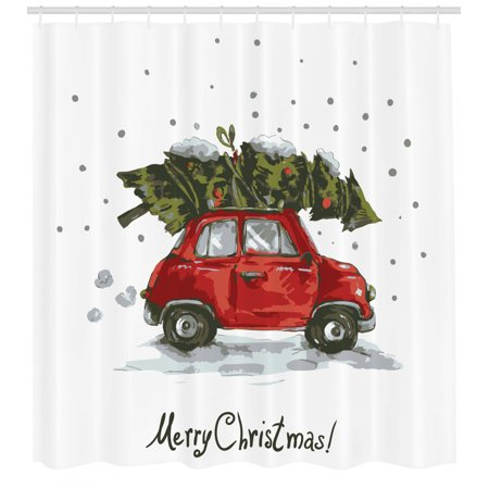 Christmas Shower Curtain Red Retro Style Car Xmas Tree Vintage Family Style Illustration Snowy Winter Art Fabric Bathroom Set With Hooks Red Green By Ambesonne Walmart Com