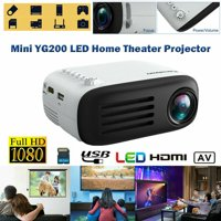 Mini Projector, Full HD 1080P LED Projector LCD YG200 Theater Portable Movie Projector with 30,000 Hrs LED Lamp Life, Compatible with HDMI