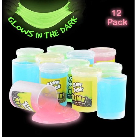 Glow In The Dark Slime - 12 Pack Assorted Neon Colors- Green, Blue, Orange And Yellow For Kids, Goody Bag Filler, Birthday Gifts Non-Toxic - By Kidsco - Glow In The Dark Colors