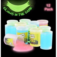 Glow In The Dark Slime - 12 Pack Assorted Neon Colors- Green, Blue, Orange And Yellow For Kids, Goody Bag Filler, Birthday Gifts Non-Toxic - By Kidsco