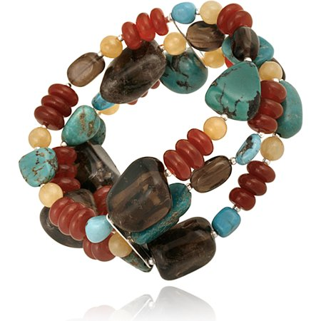 Aragonite, Carnelian, Created Turquoise and Smoky Quartz Nuggets Sterling Silver Stretch Bracelet, 7.5""