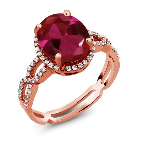 5 19 Ct Red Created Ruby White Created Sapphire 925 Rose Gold Plated Silver Ring