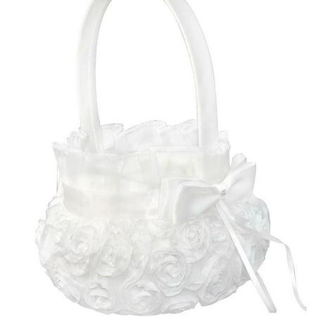 Pure White Romantic Rosette Wedding Flower Basket Flower Girl Basket for - Wedding Baskets