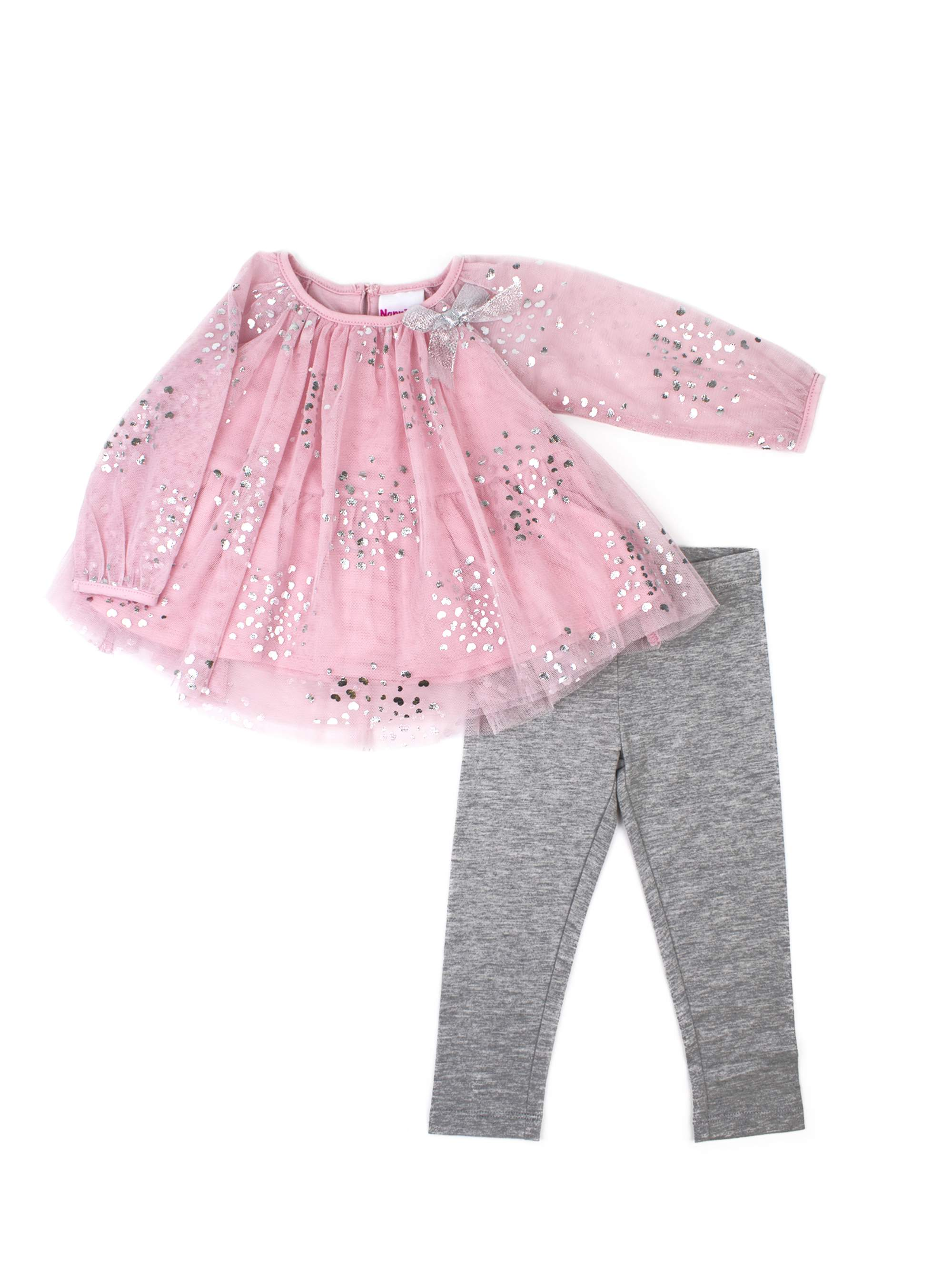 Printed Tulle Top and Legging, 2-Piece Outfit Set (Little Girls)