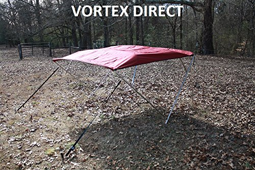 "New BURGUNDY STAINLESS STEEL FRAME VORTEX 4 BOW PONTOON DECK BOAT BIMINI TOP 12' LONG, 91-96"" WIDE (FAST SHIPPING 1... by VORTEX DIRECT"