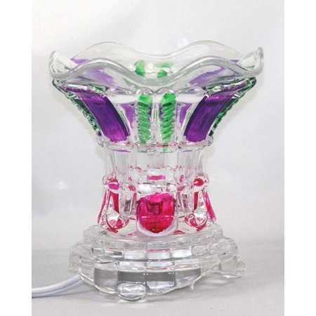 Multi-Color (ES226) Electric Glass Fragrance Scented Oil Warmer (Burner / Warmer / Lamp) with Dimmer Switch Pink Purple