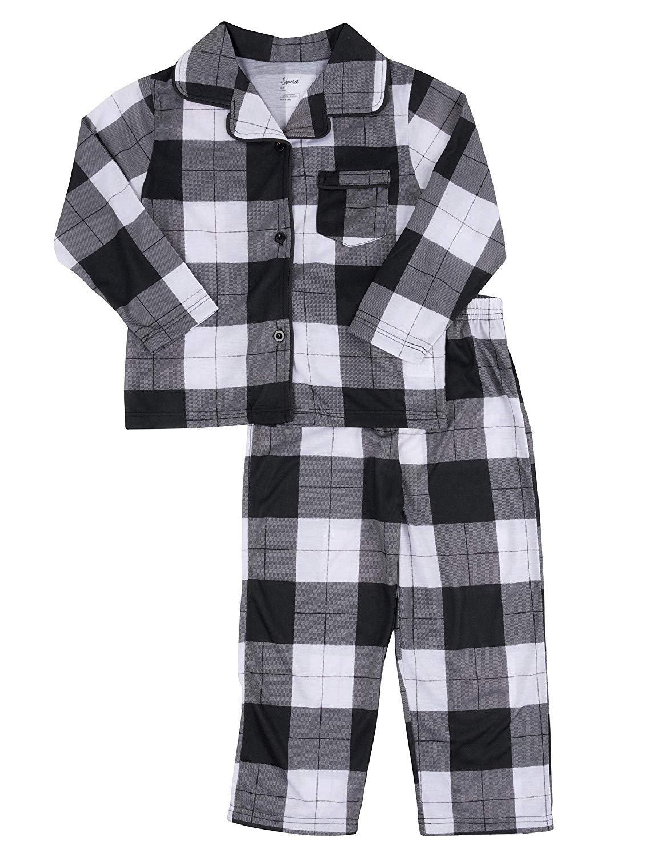 Leveret Kids Pajamas Flannel Pajamas Boys & Girls 2 Piece Christmas Pajama Set Black Moose 6 Years